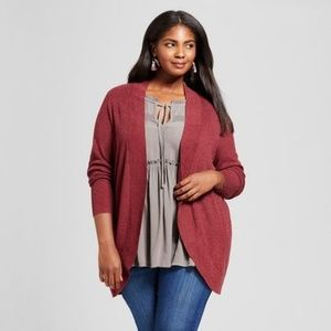 Ava Viv Ribbed Open Wrap Cocoon Cardigan, Berry